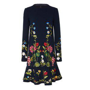 OSCAR DE LA RENTA Long Sleeve Floral Dress